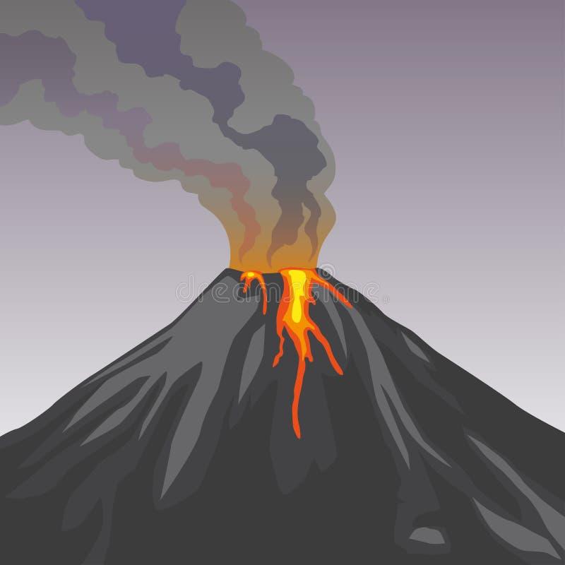 Varmt naturligt utbrott för kraterbergvulkan rök brand royaltyfri illustrationer