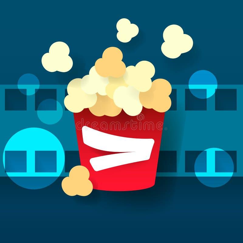 Varmt popcorn i ett exponeringsglas Biofilm vektor vektor illustrationer