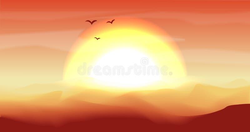 Varmt rött och orange tömmer panorama- landskap för öken med dyn, och den ljusa solnedgången, solnedgång i guldguling färgar stil royaltyfri illustrationer