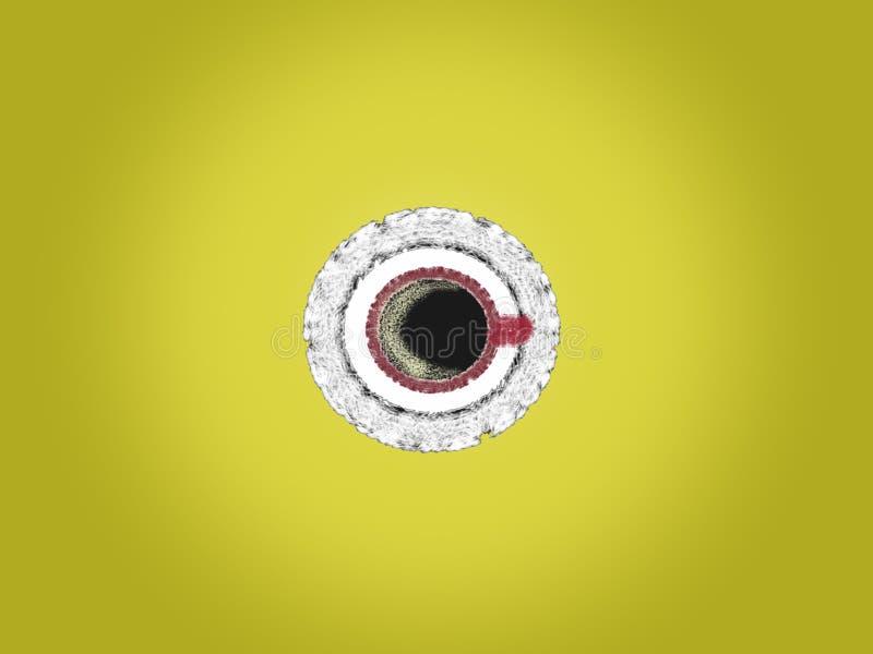 Varmt svart kaffe med skum i bästa sikt för röd kopp och för vit tefatillustration på gul bakgrund royaltyfri illustrationer
