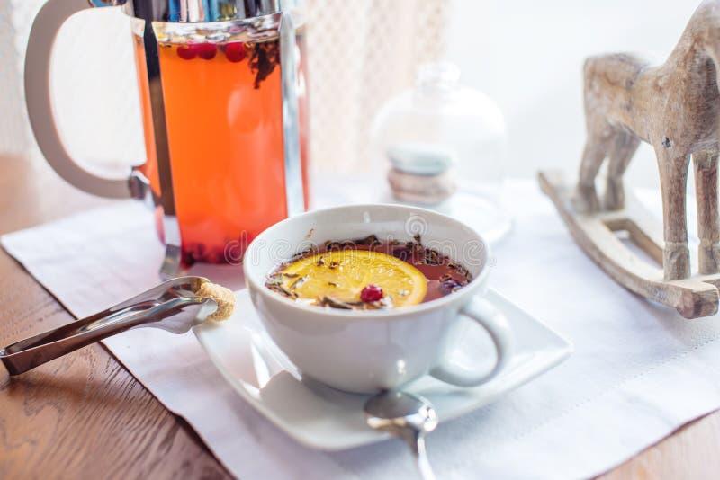 Varmt te med tranbär och örter i en fransk press royaltyfri bild