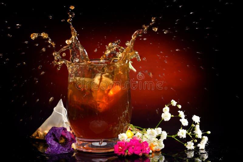 Varmt te som plaskar från exponeringsglaset royaltyfria bilder