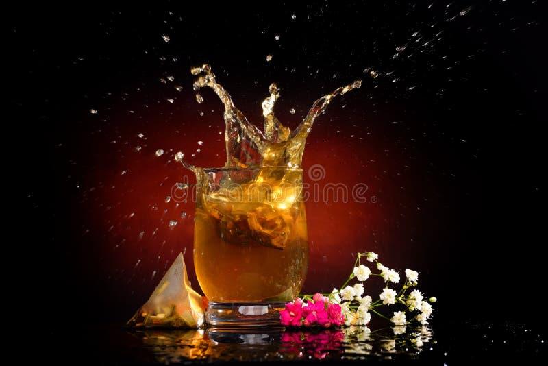 Varmt te som plaskar i exponeringsglaset royaltyfria foton