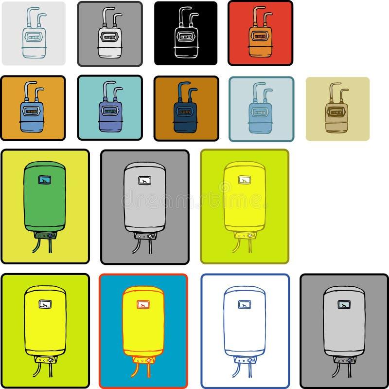 Varmvattenkokkärl och gasmeter royaltyfri illustrationer