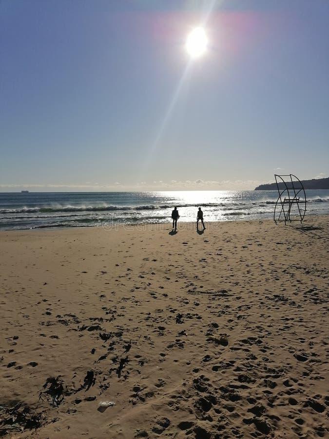 Varna Baglia黑海景观海滩健身 库存图片