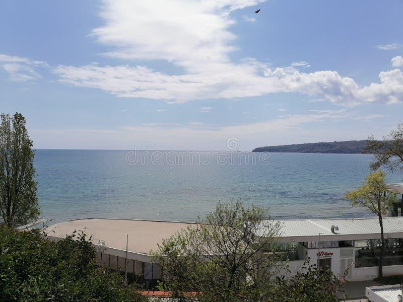 Varna Baglia黑海景观海滩02 05 2020 免版税库存照片