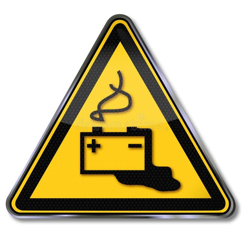 Varna batteriet, elektrisk chock och batterisyra stock illustrationer
