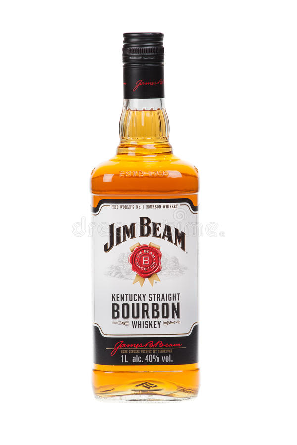VARNA, BULGARIA - AUGUST 17.2016: Photo of a bottle of Jim Beam Bourbon, isolated on white. Jim Beam is an American brand of bourb royalty free stock images