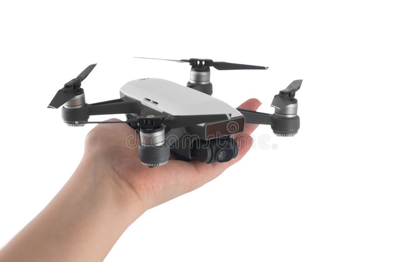 Dji Spark drone mini quadcopter isolated on white stock photo