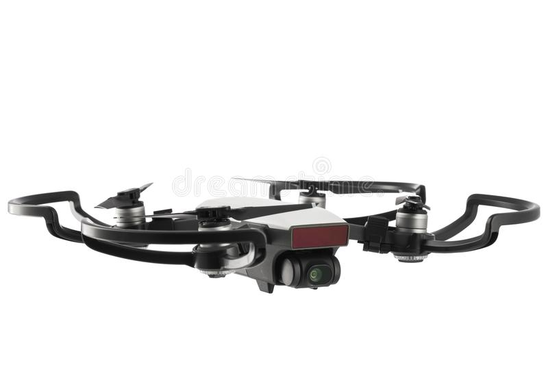Dji Spark drone mini quadcopter isolated on white stock image