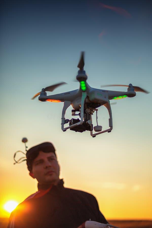 Varna, Bulgaria - June 23 ,2015: Flying drone quadcopter Dji Phantom stock image
