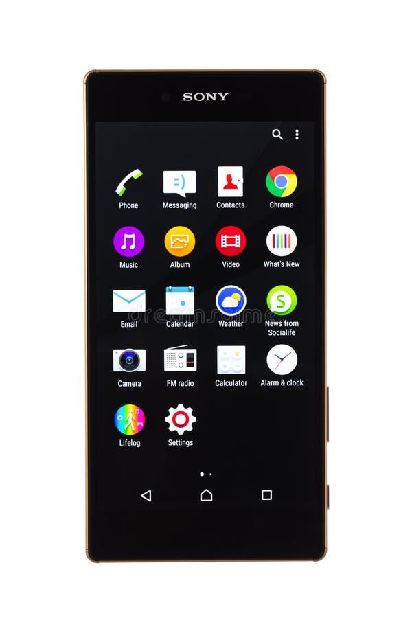 Varna, Bulgaria - 25 novembre 2015: Telefono cellulare Sony Xperia di modello fotografie stock libere da diritti
