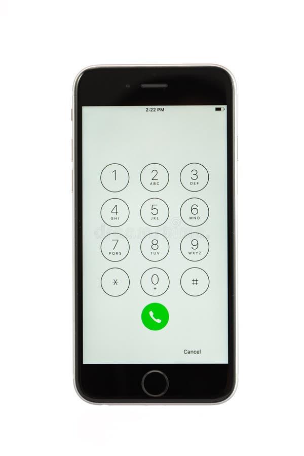 Varna, Bulgaria - 31 ottobre 2015: Telefono cellulare Iphone di modello 6s fotografie stock libere da diritti