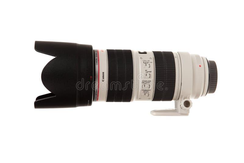 Varna, Bulgarien - 10. Dezember 2017 - Canon E-F-70-200mm f/2 8L IST II lokalisiert auf weißem Hintergrund Canon-Zoomobjektiv mit lizenzfreie stockfotos