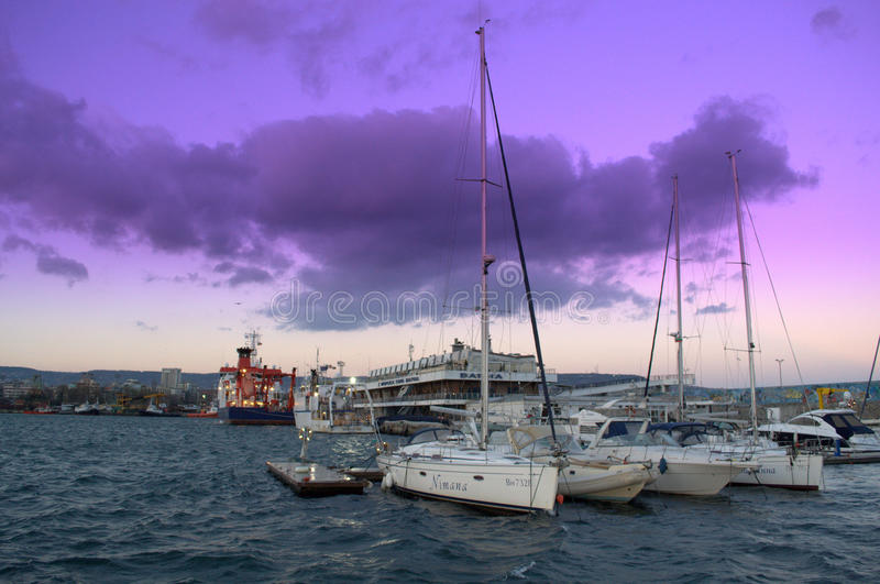 Varna Marine station after sunset stock photography