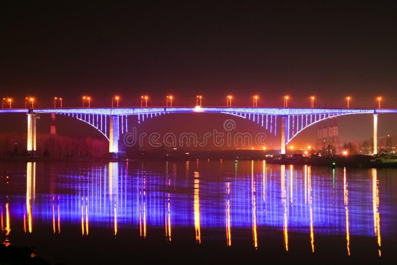 Varna night. Night shots of the Asparuhov bridge. Varna Town, Bulgaria stock photo
