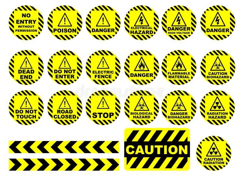 Varna och varningstecken royaltyfri fotografi