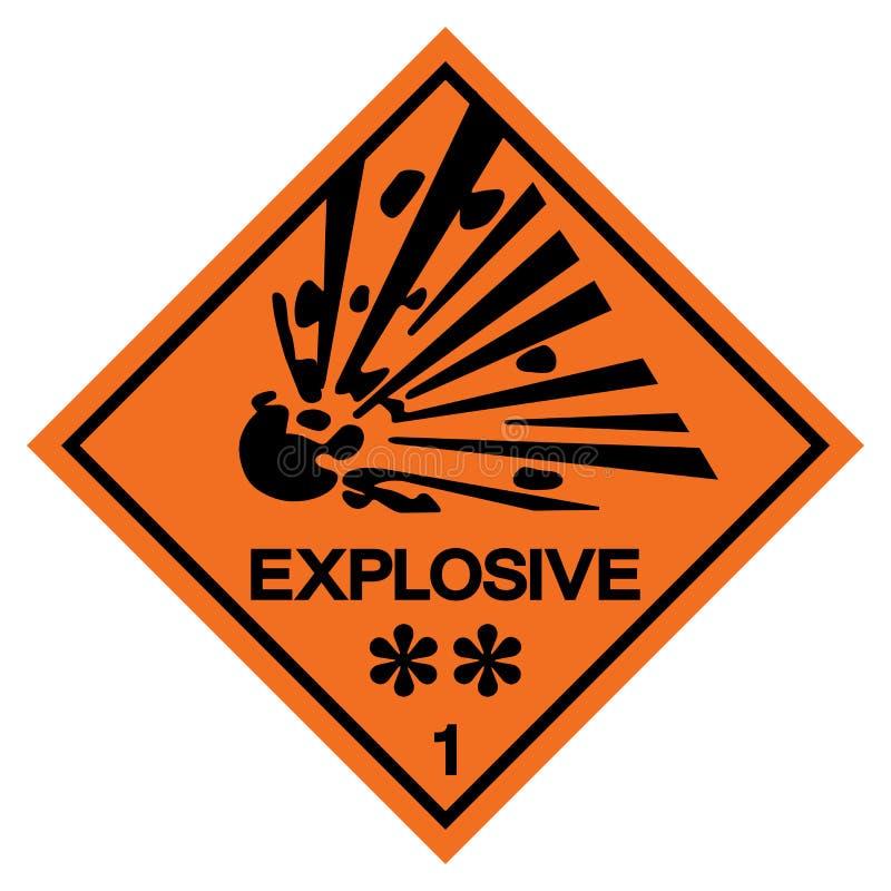 Varnande explosivt symboltecken, vektorillustration, isolat på den vita bakgrundsetiketten EPS10 stock illustrationer