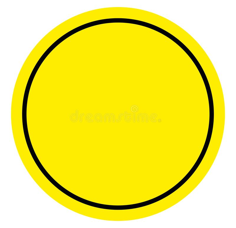 Varnande faratecken, gul och svart färgbakgrund för cirkelram stock illustrationer