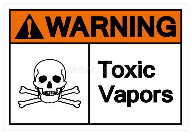 Varnande giftligt dunstsymboltecken, vektorillustration, isolat på den vita bakgrundsetiketten EPS10 stock illustrationer