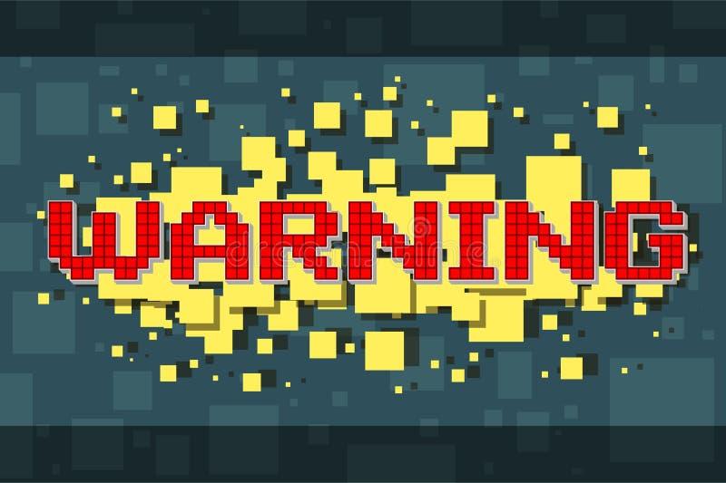 Varnande knapp för rött PIXEL för videospel stock illustrationer