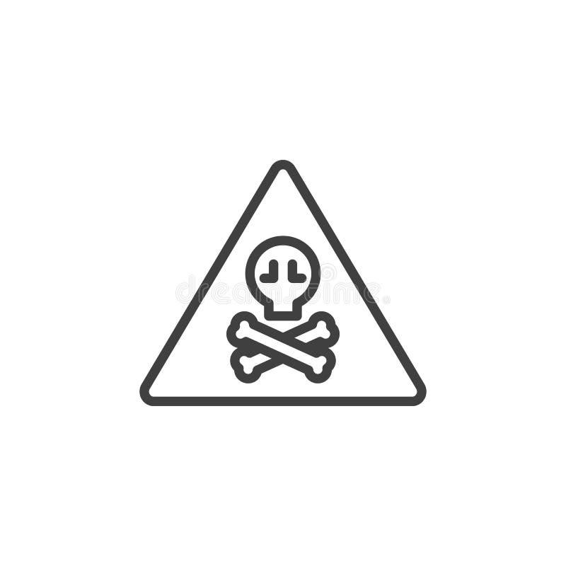 Varnande linje symbol för tecken för giftlig fara stock illustrationer
