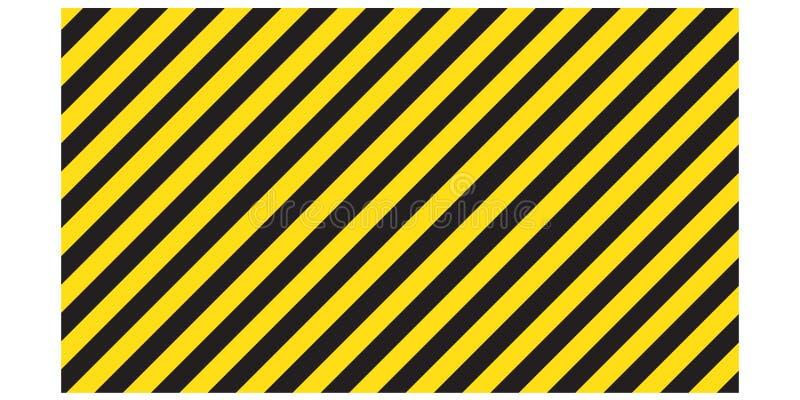 Varnande randiga rektangulära bakgrunds-, guling- och svartband på diagonalen, en varning som är försiktig - den potentiella fara stock illustrationer