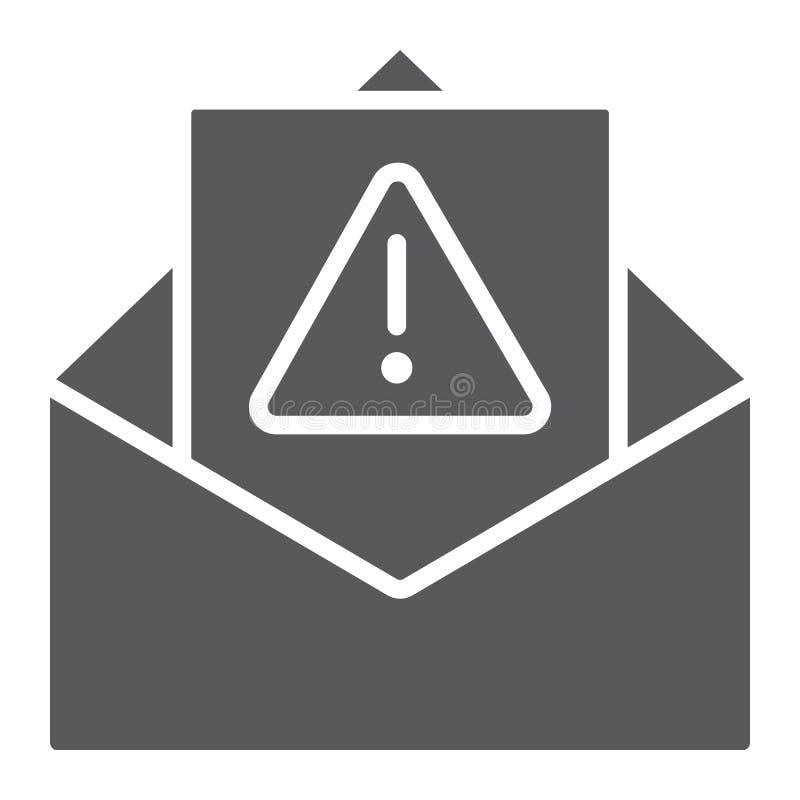 Varnande skårasymbol för skräppost, bokstav och email, vaket posttecken, vektordiagram, en fast modell på en vit bakgrund vektor illustrationer