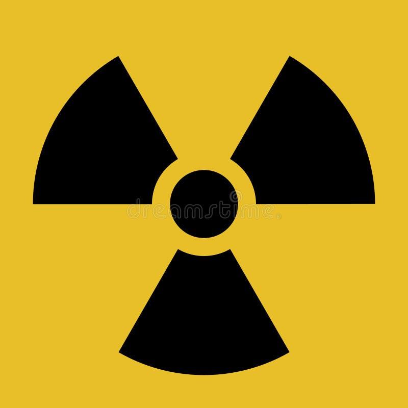Varnande symbol för vektorutstrålning, svart och gult stock illustrationer
