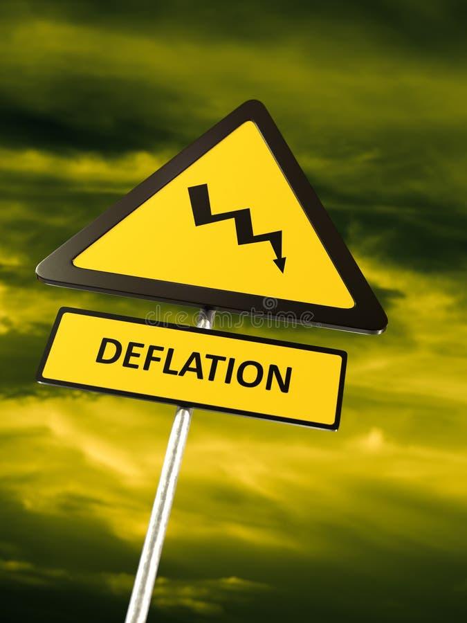 Varnande tecken för deflation royaltyfri illustrationer