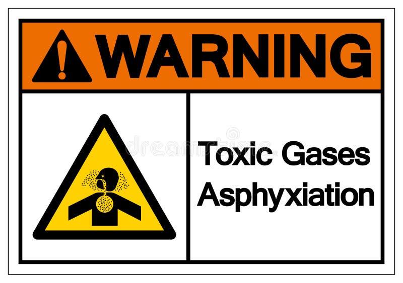 Varnande tecken för giftgasasfyxisymbol, vektorillustration, isolat på den vita bakgrundsetiketten EPS10 vektor illustrationer