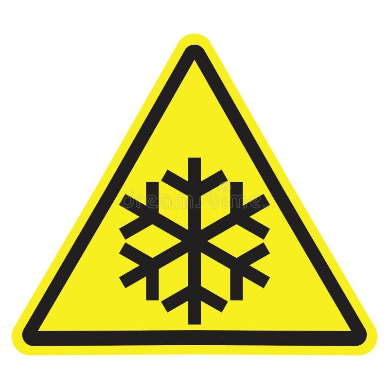 Varnande tecken för gul triangel med den isolerade svarta snöflingan vektor illustrationer