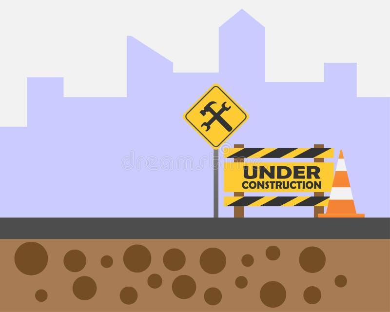 Varnande tecken under konstruktion p stock illustrationer