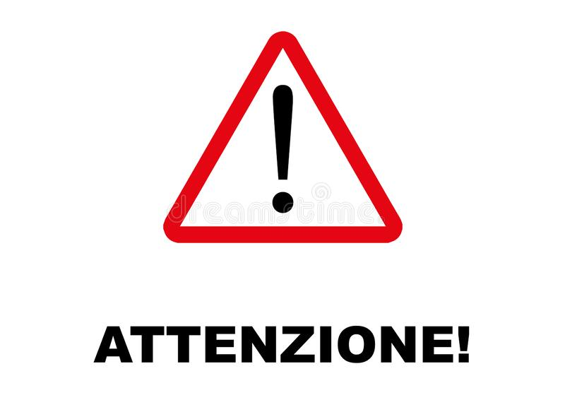 Varnande vägvisare som är skriftlig i italiensk anguage stock illustrationer