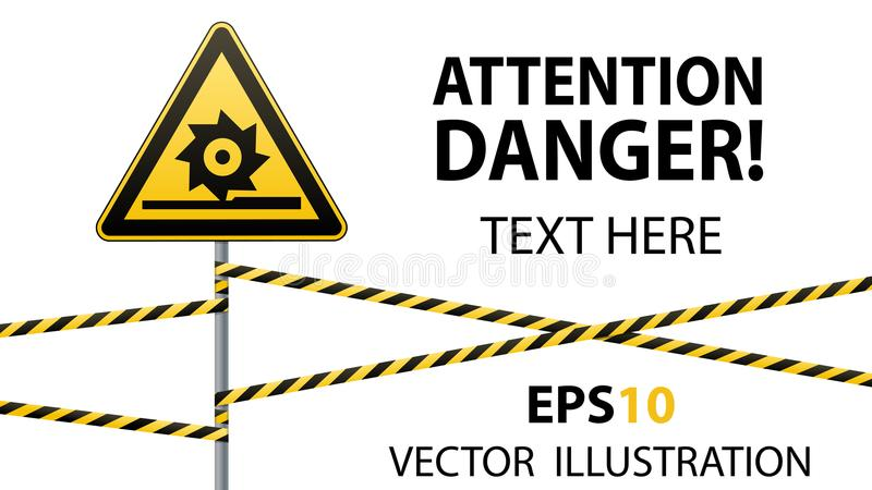 Varning bitande axlar Säkerhetstecken Tecken på pol med band Gul triangel, metallpelare, skyddande band royaltyfri illustrationer