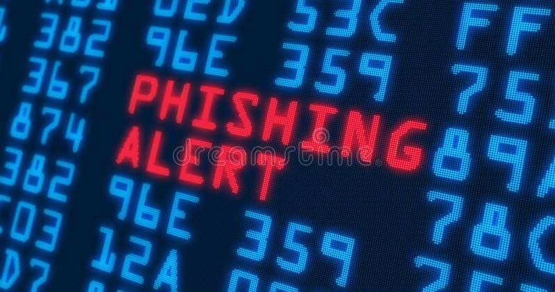 """Varning för †för Cybersäkerhetsmodeord phishing """" vektor illustrationer"""