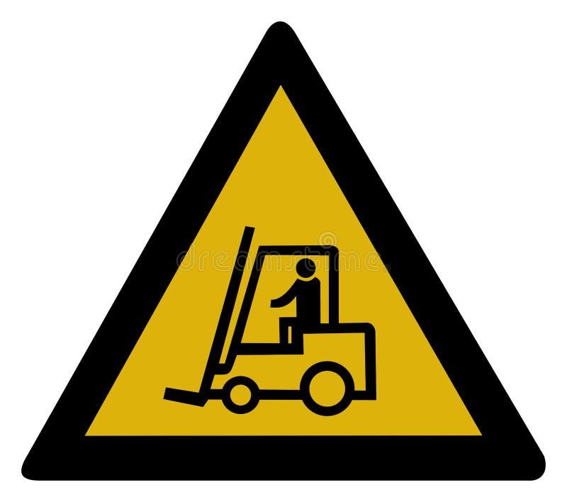 varning för gaffeltruckteckenlastbil stock illustrationer