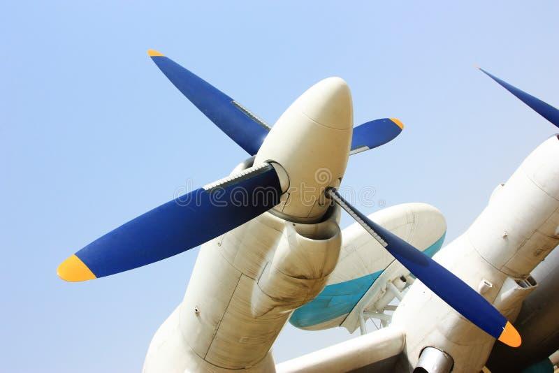 varning för luftflygplanpropeller arkivfoto
