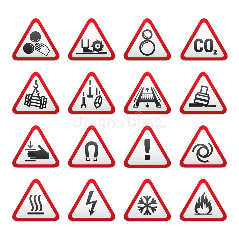 varning för set tecken för fara enkel trekantig royaltyfri illustrationer