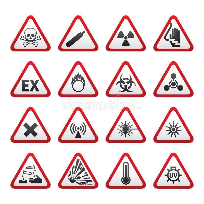 varning för set tecken för fara trekantig stock illustrationer