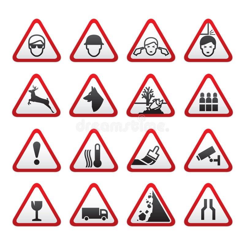varning för set tecken för fara trekantig vektor illustrationer