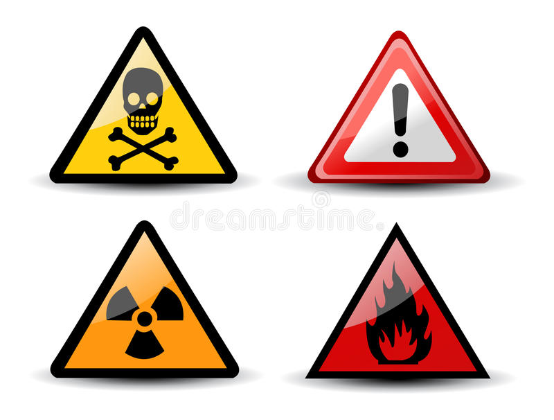 varning för set tecken för fara trekantig royaltyfri illustrationer