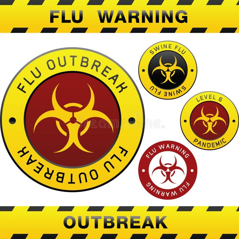 varning för swine för utbrott för designelementinfluensa vektor illustrationer