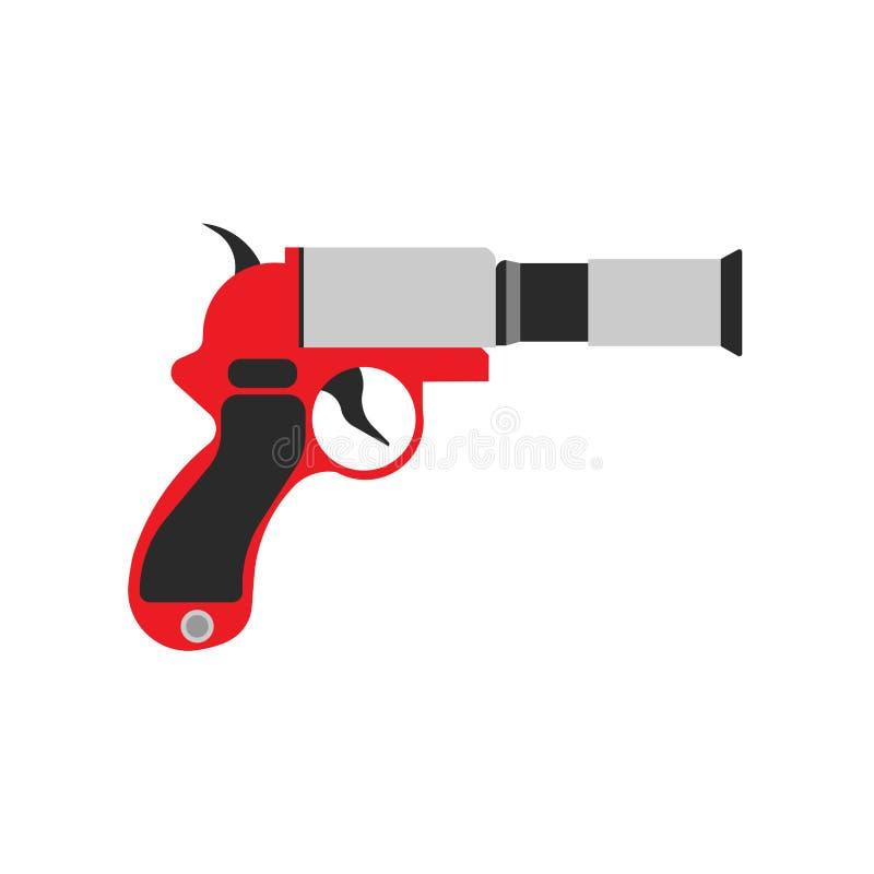 Varning för symbol för vektor för sos för signal för signalljusvapenpistol Isolerad nöd- rök för brandforsmål Orange launcher 911 vektor illustrationer