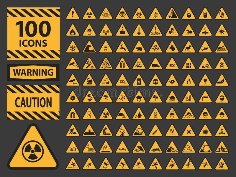 Varning för varning för guling för triangel för vektoricn-uppsättning vektor illustrationer