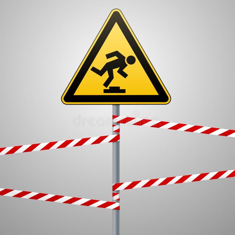 Varning låg-märkbart hinder Säkerhetstecken Gul triangel med svart bild på polen och de skyddande banden grått vektor illustrationer