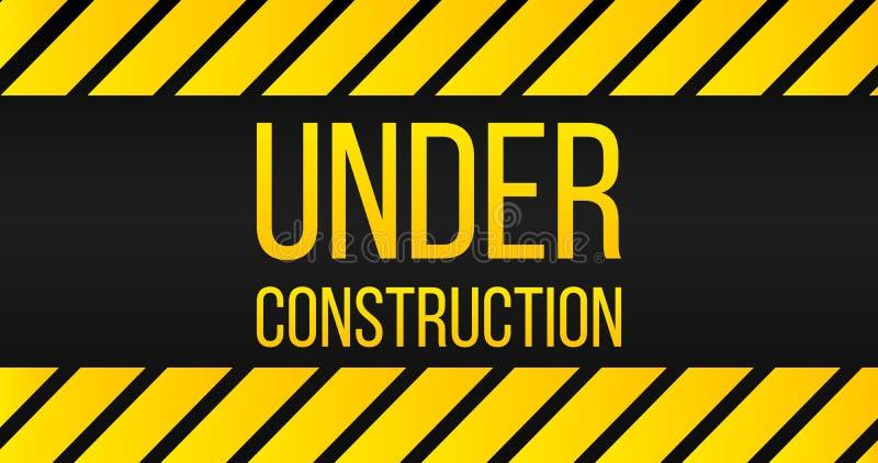 Varning under, gula och svarta färger för konstruktionstecken, för etikett för fara också vektor för coreldrawillustration stock illustrationer