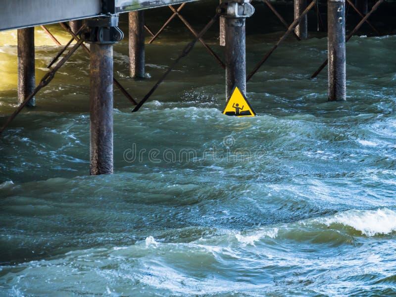 Varning undertecknar in havet under en pir arkivbild