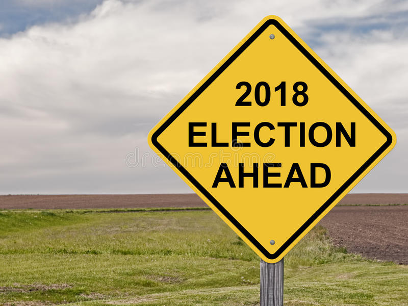 Varning - val 2018 framåt royaltyfria bilder