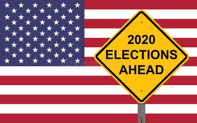 Varningen för 2020 val framåt suckar stock illustrationer